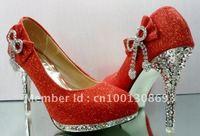 Red wedding shoes, fashion women's high heels women party shoes Free Shipping