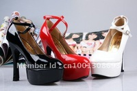 Europe and the United waterproof Taiwan high heels patent leather shoes red wedding shoes bridal shoes free shipping
