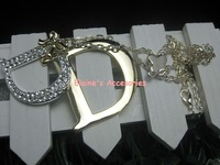 MIN.ORDER $15,fashion metal chain necklace with double D as drops