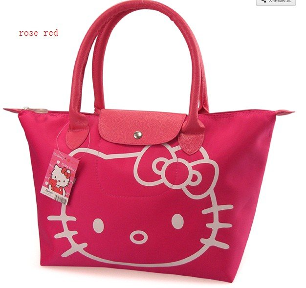 Free Shipping ,waterproof Pink Black Red Cute Hello kitty Hand Bag Shopping School swimming fashion Bag canvas bag(China (Mainland))