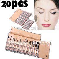 20 pcs/set Professional Makeup Brush Set Cosmetic Make up Brush With Fashion Roll Up Bag