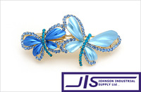 4 Colors available, Colorful Crystal Double Butterfly with 18K Gold plated Fashion Hair Clip, Hair Jewelry,0413, Free Shipping