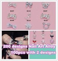 Wholesale Pro Salon Express  200 styles for choose 3d metal nail art decorations Alloy  100pcs/bag + Free Shipping  NA200