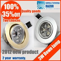 DHL&EMS Free shipping ,35%Off Popular high quality 3W Epistar led ceiling ,high power led downlight ,330LM,2012New's golden