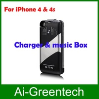 Free shippingAll in One 1800mAh Portable External Charger + Music Box + Protector for iPhone 4/4S,mini speaker