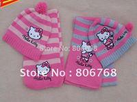 free shipping Christmas Gift  2014 girl fashion Cap Girls love hello kitty fashion scarf +hat knitting