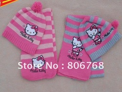 free shipping Christmas Gift 2012 girl fashion Cap Girls love hello kitty fashion scarf +hat knitting(China (Mainland))