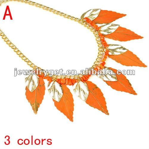 leaf plates colorful pendant necklace,funky necklace,3 colors,NL-1887(China (Mainland))