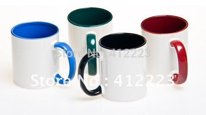 56pcs per lot inside and handle colored Plain blank sublimation mug(China (Mainland))