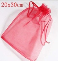 Hot! 100 pcs/lot 20X30CM Silk Organza earrins ring neckalce Jewelry Wedding Gift Pouch Bags packaging bag BX035
