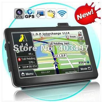 7 inch GPS navigation, DVR+Bluetooth + AV IN + FM+8GB, load 3D map DDR 128 Win CE 6.0