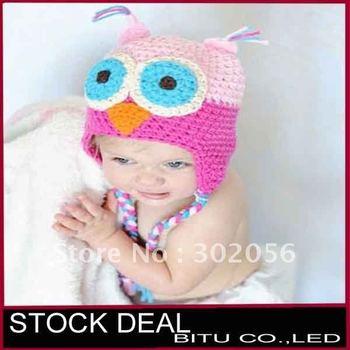 MOQ 1pcs 8 color in stock OWL Crochet Children Hat with Ear Animal baby cap B061p