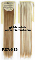 Heat proof synthetic striaight ribbon ponytail hairpieces clip on hair extension Color F27/613#,55cm,80grams 1pc