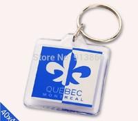 "Free Shipping 30pcs Blank Acrylic Rectangle Keychains Insert Photo Keyrings (Key ring chain)1.57""x 1.57""1(4cm*4cm)"