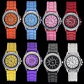 Free Shipping,8 Colors, 10 Pcs/lot,Hot Sales Classic Gel Silicone Crystal Lady Geneva Jelly Watch Gifts Stylish