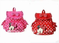 Free shipping Children's nursery schoolbag sweet girls micky backpack girl's lovely shoulder pack Red&pink
