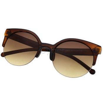 Free Shipping New Unisex Designer Semi-Rimless Super Round Circle Cat Eye Retro Sunglasses