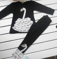 Free Shipping 2013 Autumn Children's Clothing Set Female Child Lace Paillette Long-Sleeve Shirt And Pants Cause Set