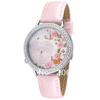 MN1094 Fashion originality MINI watch 3D flower rose watch DIY women watch with crystal 1pc+free shipping