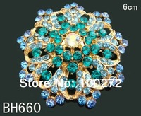 Wholesale fashion jewelry flower crystal rhinestone alloy brooch  Free shipping 12pcs/lot Mixed colors  BH660