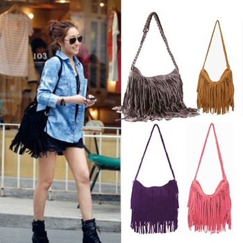 Hot Sale 2013 Fashion Women Handbag Tassel Cross Body Women Bag Solid Color Zipper Shoulder Bags Women Leather Handbags BG-0014