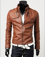 2012 Classic Men's PU Leather Jacket Coat Outwear Black And Brown 4 Sizes Free Shipping PU008