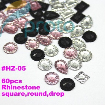 Freeshipping-60pcs colors Rhinestone Nail Art Decoration 3D Nail Art Dropshiping [Retail] SKU:D0119