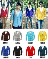 KS005 Fashion Style Men's V-neck Colorful Slim Casual Knitwear Cardigan 4 Sizes 8 Colors Free Shipping