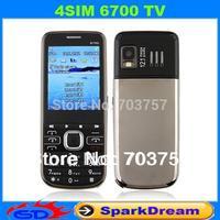 4SIM 6700 Phone With Quad SIM Card TV Bluetooth FM Camera 2.2 Inch Screen phone (Can Choose Russian Keyboard)