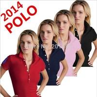 Wholesale - Embroidery logo woman's Short Sleeve shirts Cotton women polo Shirt many colors embroidery big logo