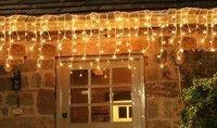 Express Free shipping 12 pcs 5M String 224 LED Bulbs Icicle Christmas LED Curtain Light  , White Blue Multi color, Mixed-lot