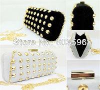Free Shipping! High Quality Fashion Black Velour Punk Rivet Shoulder Clutch Evening Bag Handbag W/Sequin Metal Chain #02002