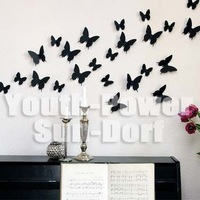 36pcs 3D Wall Sticker Butterfly Home Room Decor Decorations Pop up Stickers for Door Closet Fridge Car 10 colors 3 sizes Acrylic