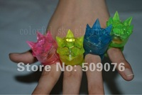 Free shipping 24pcs/lot 3*4cm 4color led finger ring with crown for wedding favors