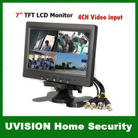 New 4CH Video input Camera Quad 7 inch TFT LCD Color view Monitor High Resolution 480 x 234 Connect 4PCS Camera free sipping