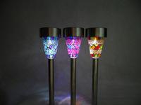 Solar mosaic garden light + 100% solar powered + 1 bright led + 4pcs/Lot + Free shipping