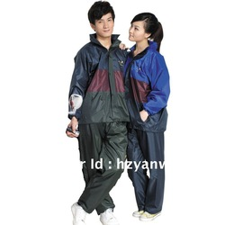 Colour mixture PVC hooded rain jacket for men and women(China (Mainland))