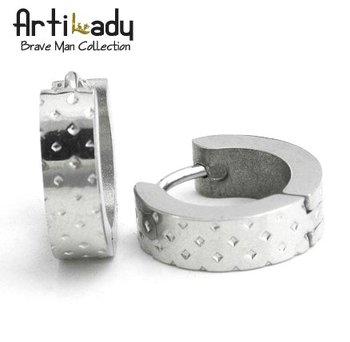 Artilady Stainless Steel Men Earrings Punk Style Round Men Jewelry Cool Fashion 2014