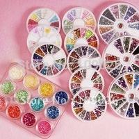 New 12 in one mix Shape Nail Art Glitter Rhinestones Acrylic Diamond Nail Decoration Set, Free Shipping