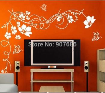 110x150cm Beautiful Flower Vinyl Wall Paper Decal Art Sticker Free Shipping #3072