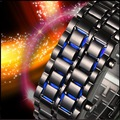 Fashion LED Metal Lava Iron Style Red &amp;Blue Light Unisex Watch Best Selling Free Shipping LED1024 opp package
