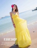 2013 Fashion Summber Fresh and Cool Beach Ankle-Lenght V-Neck Dress Bohemian Lady Dress Free Shipping