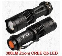 Mini LED Torch 7W 300LM CREE Q5 LED Flashlight Adjustable Focus Zoom flash Light Lamp ,free shipping5pcs/lot