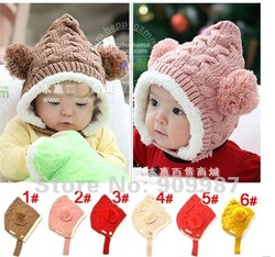 A008wholesale hot selling children's baby popular woolen yarn hat/caps solid colors 6colors 5pcs/lot infant caps toddler crochet(China (Mainland))