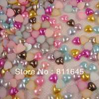 Free shipping wholesale Heart Half Pearls Flatback ABS Imitational Beads Scrapbooking Jewelry Garment Accessory(1000pcs/lot)