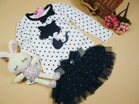 Children 's suits - girls kitty long-sleeved t -shirt + beautiful veil - baby 2Pieces Set