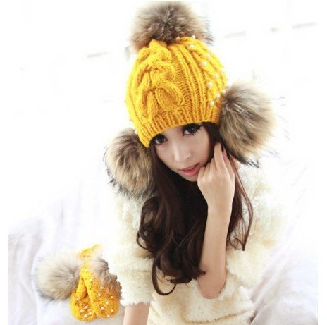 Hot winter sale Fashion big fur ball knitted hat winter woolen yarn hat for lady free shipping wholesale(China (Mainland))