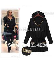 Promotion!2014 Women's casual dress black rivet slim long-sleeve pocket S to 4XL spring winter t-shirt female clothing