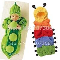 Free shipping newborn romper autumn and winter thickening cartoon style caterpillar pea baby sleeping bag baby bodysuit