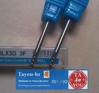 10pcs 3*3*8mm 3 flute aluminium cutting  bits Free Shipping TYM